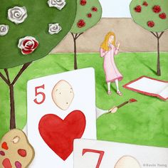 Alice in Wonderland by Kevin Tseng. Alice In Wonderland 1, Painting The Roses Red, Kids Rugs, Illustration, Blog, Decor, Decoration, Kid Friendly Rugs, Blogging