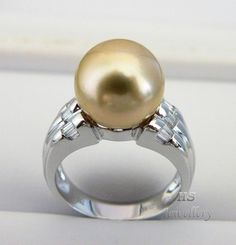 HS Golden South Sea Cultured #Pearl 11.8mm #Diamond .30tcw #Ring Top Grading, 18KWG #NoReserveAuction #Jewelry #Gift