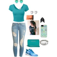 Untitled #219 by jalex9993 on Polyvore featuring polyvore, fashion, style, Frame Denim, NIKE, MICHAEL Michael Kors, Lynn Ban, Links of London and Whistles