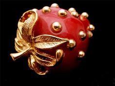 Kenneth Lane Strawberry Brooch Vintage PIN RED Enamel Signed KJL Figural Gold | eBay