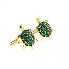 Green and Gold Turtle Cufflinks