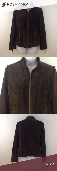 Alfani Supple Soft Leather Sz S Fitted Blazer NWOT Sophisticated Chocolate Leather Zip Blazer/Jacket. Alfani Petite Brand Is. size small and it is fully lined. It has fantastic invisible stitching to create a design and darts. Alfani Jackets & Coats Blazers