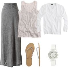 """Grey Maxi with Sequins"" by lori972 on Polyvore"