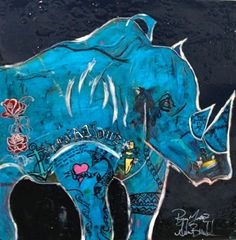"""Tat-Rhino""- a animal painting by Adam Brett    http://www.adambrettart.com/"