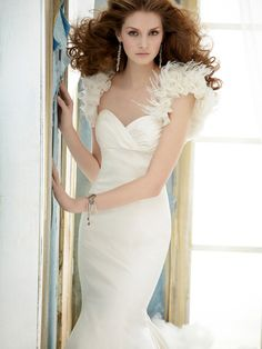 romantic silk faced satin trumpet wedding dress with draped empire strapless bodice (I like the back of this dress)