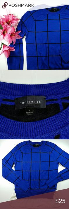 🎀SALE🎀The Limited sweater Royal blue and black window pane pattern, long sleeves, crew neck. White trim at the bottom that gives a layered look. Cotton/viscose/polyester.  Sz small The Limited Sweaters Crew & Scoop Necks