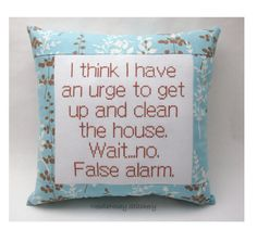 Funny Cross Stitch Pillow Blue And Brown Pillow by NeedleNosey from NeedleNosey Stitchery. Saved to want #jkiwantittomorrow #willyoubuymethisformybirthday