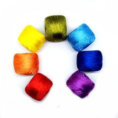Polyester thread rainbow pallet set of 7 colors. Crochet Clutch Bags, Tatting Earrings, Crochet Faces, Metallic Yarn, Needle Tatting, Earring Tutorial, Lace Making, Embroidery Thread, Rainbow Colors