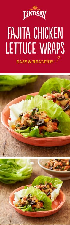 These clean eating Fajita Chicken Lettuce Wraps are a quick and easy weeknight dinner! They're ready in less than 30 minutes with black olives, onions, peppers and spices. Plus they're gluten and dairy free and a great paleo option.