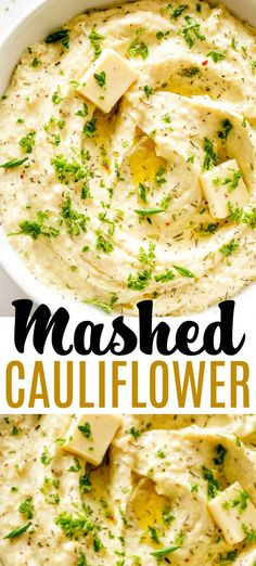 Creamy Mashed Cauliflower - Mash Cauliflower Florets Into A Creamy, Healthy, And Delicious Low-Carb Substitute For Mashed Potatoes A Comforting, Buttery, And Garlicky Mashed Cauliflower Recipe That Is Very Easy To Make And Its Done In Just 15 Minutes Side Dish Recipes, Veggie Recipes, Cooking Recipes, Healthy Recipes, Low Carb Vegetarian Recipes, Califlower Mashed, Vegan Mashed Cauliflower, Cauliflower Potatoes, Cauliflower Salad