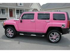 It's a pink hummer-seriously. You can never have a bad day when you serendipitously see a pink hummer Hummer H3, Pink Love, Pretty In Pink, Hot Pink, Bright Pink, My Dream Car, Dream Cars, White Hummer, Pink Wheels