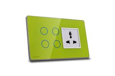 Hogar Controls Designer Smart Touch Switch Panels - z-wave zigbee - 4 touch plus universal socket Green on Gray white bazzle side view