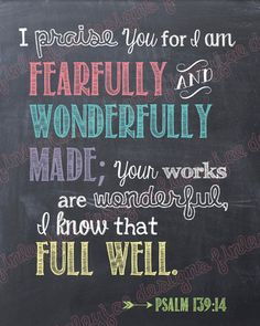 Scripture Printable Fearfully and Wonderfully by FinleyJaeDesigns, $7.00