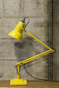 Anglepoise lamp, yellow, Retrouvius Reclamation and Design Retro Lighting, Lighting Design, Home Interior, Interior And Exterior, Anglepoise Lamp, Dark Wood Floors, Man Room, Co Working, Under Stairs