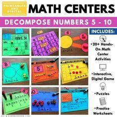 Decompose 5 and 10 math centers Kindergarten Activities, Preschool Activities, Educational Activities, Activity Centers, Math Centers, Teaching Place Values, Teen Numbers, Math Talk, Decomposing Numbers