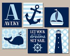 Baby Boy Nursery Wall Art Nautical Wall Art Boy por TRMdesign