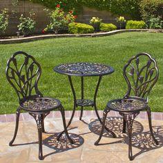 Patio Furniture Bistro Set Outdoor Cast Aluminum Table Chairs Antique Finish New