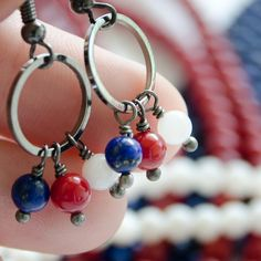 4th of July - Earrings -  SMALL -  Tri-colored Tiny Cluster by gritgoods, $18.00