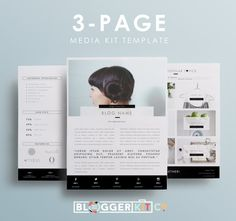 Three-Page Media Kit Template  Press Kit Template  by BloggerKitCo