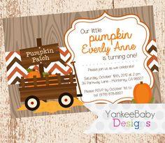 Little Pumpkin  Birthday Invitation by YankeeBabyDesigns on Etsy, $13.00