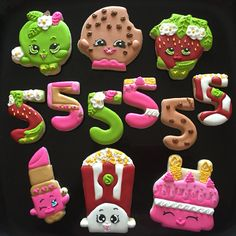 Shopkins Cookies For more info or pics of custom cookies or to ask question about ordering.....please visit my page www.facebook.com/busybeecakery #shopkins #shopkinscookies #shopkinsparty
