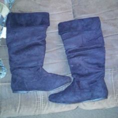 Black suede boots NEVER WORN! Size 10. Not ankle boots! Shoes Ankle Boots & Booties