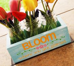 Burton Avenue: DIY Stenciled Mason Jar Planter Box