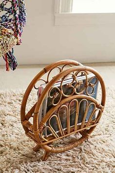 Rattan Magazine Rack - Urban Outfitters Rounded vintage-inspired magazine rack crafted from natural rattan. Only at Urban Outfitters. Modern Vintage Homes, Vintage Home Decor, Vintage Furniture, Rustic Decor, Rattan Furniture, 70s Furniture, Decor Diy, 70s Decor, Rustic Wood