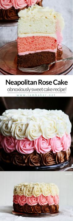NEAPOLITAN ROSE CAKE Sweet delicious cake using an easy rose cake piping technique The sweet buttercream roses is so exciting For more simple and easy dessert recipes to. Sweet Recipes, Cake Recipes, Dessert Recipes, Easy Desserts, Delicious Desserts, Neapolitan Cake, Cake Piping, Rosette Cake, Easy Rose