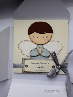Ręcznie robiona rozkładana pamiątka z okazji CHrztu Św. z aniołkiem. Handmade scrapbooking wishes for baptism with angel.