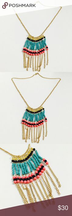Boho Pink & Teal Beaded Tassel Long Necklace! Super cute! Jewelry Necklaces