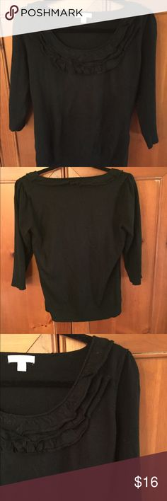 "🌳NEW🌳 Lovely Black Sweater This lightweight, 100% acrylic sweater has the very popular 3/4 sleeve, banded waist and sleeves & three layers of ruffles around the neckline. Machine wash. Use sweater shaver to keep looking good! Barely worn. Size M; 22"" long. New York & Company Sweaters Crew & Scoop Necks"