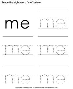 Download and print Turtle Diary's Sight Word Me Tracing Sheet worksheet. Our large collection of ela worksheets are a great study tool for all ages.