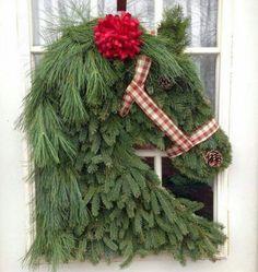 Festive horse head wreath