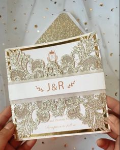 The luxury champagne gold glittery laser cut wedding invitation is great for your glamorous wedding, the glitter and gold mirror backers frame the classic insert to make it so stand out, then the laser cut is closed with a vellum and printed belly band to give it the extra added touch of elegance. Wedding Invitation Video, Laser Cut Wedding Invitations, Wedding Tips, Wedding Ceremony, Belly Bands, Glamorous Wedding, Bridesmaid Gifts, Wedding Accessories, Perfect Wedding