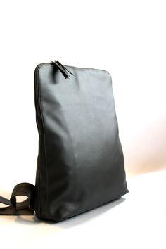 Woman Backpack Laptop Bag Vegan Backpack Grey Laptop Backpack Men Backpack School Backpack Computer Padded Bag (149.00 USD) by TikeStudio