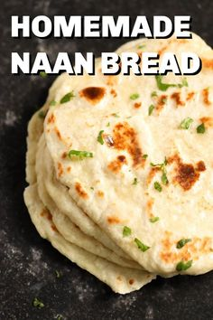 Easy Homemade Naan Bread - - This easy homemade naan bread only requires 5 ingredients (and you don't need any yeast! It's soft, chewy, and comes together in just 30 minutes. Homemade Naan Bread, Recipes With Naan Bread, Easy Naan Bread Recipe No Yeast, Indian Naan Bread Recipe, Unleavened Bread Recipe, Yeast Free Breads, Pita Recipes, No Yeast Bread, Flatbread Recipes