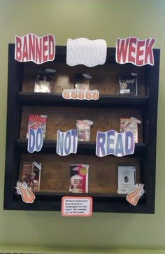 High School library display - Banned Books Week 2013