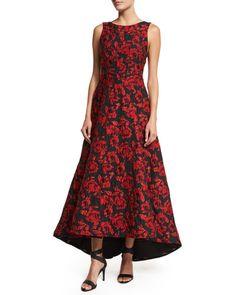 TB0Y3 Alice + Olivia Sleeveless Brocade High-Low Dress