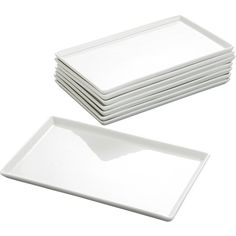 CB2 Set Of 8 Cuatro Medium Platters (115 BRL) ❤ liked on Polyvore featuring home, kitchen & dining, serveware, porcelain platter, white platter, white porcelain serveware, white serveware and white porcelain platter
