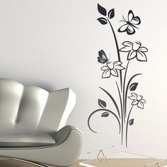 Adesivi Murali Floreali Nelumbo. Bedroom Murals, Bedroom Wall, Wall Murals, Simple Wall Paintings, Wall Painting Decor, Wall Stickers Home Decor, Diy Wall Decor, Room Decor, Mural Floral