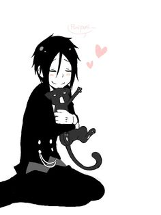 Sebastian Michaelis and kitty - Black Butler - That cat's face! lol