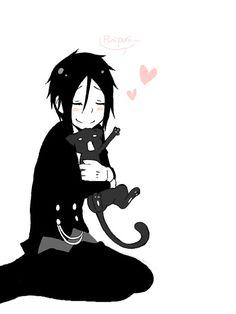 Sebastian Michaelis and kitty - Black Butler - That cat's face! lol