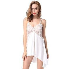 ETAOLINE Womens Sexy Lingerie Silky Satin Chemise Slip NightgownWhiteM --  Find out more at the image link. Oksana Papuzinska · Жіноча білизна b72aa3f8a2129