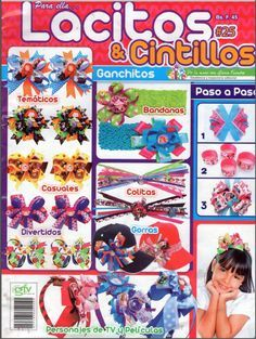 Revista Lacitos y Cintillos gratis Diy Craft Projects, Diy Crafts, Cross Stitch Books, Book Crafts, Craft Books, Painted Books, Hair Bows, Hair Clips, Headbands