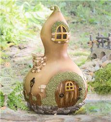 Miniature Fairy Garden Gourd Home - DIY Fairy Gardens                                                                                                                                                     More