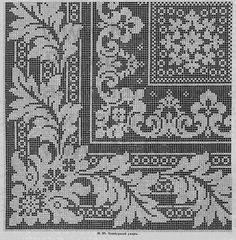 Tischdecke---can also do in filet crochet Cross Stitch Borders, Cross Stitch Charts, Cross Stitch Designs, Cross Stitching, Cross Stitch Patterns, Filet Crochet Charts, Crochet Borders, Crochet Cross, Crochet Home