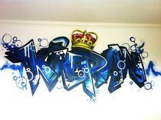 children / teen / Kids Bedroom Graffiti mural - hand painted Kieran Crown Detail graffiti bedroom design #graffitibedroom #interior design