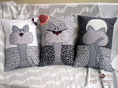 gatos aplicaciòn en cojine I like to make a set of three coordinating pillows. Applique Patterns, Quilt Patterns, Sewing Patterns, Applique Ideas, Fabric Crafts, Sewing Crafts, Sewing Projects, Sewing Ideas, Cat Cushion