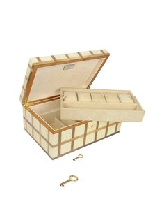 White Inlaid Wood Watch Box
